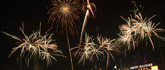 Fireworks from Arvest Ballpark (©Melissa L. Jones)